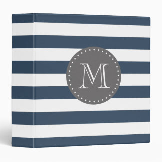 Navy Blue and Gray Stripes Custom Monogram 3 Ring Binder