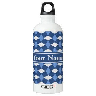 Navy Blue and Gray Wavy Pattern Bottle