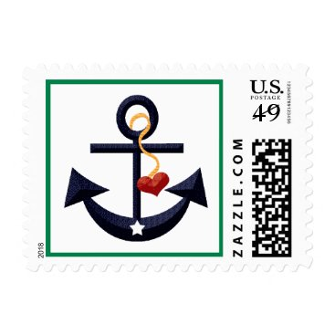 Beach Themed Navy Blue and Green Anchor Heart Postage Stamps