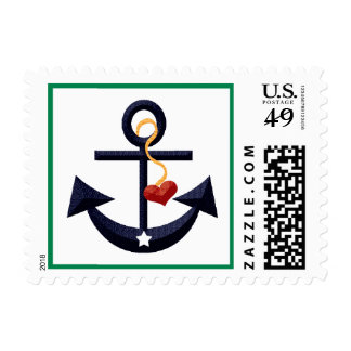 Navy Blue and Green Anchor Heart Postage Stamps