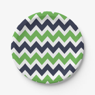 Navy Blue and Green Chevron Paper Plate