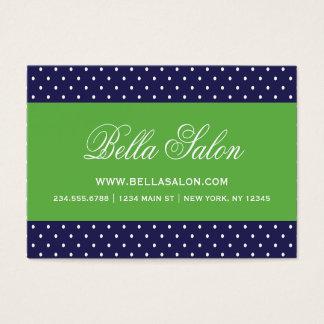 Navy Blue and Green Cute Modern Polka Dots Business Card