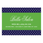 Navy Blue and Green Cute Modern Polka Dots Large Business Cards (Pack Of 100)