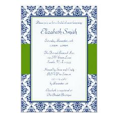 Navy Blue and Green Damask Bridal Shower Card at Zazzle