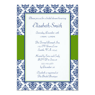 Navy Blue and Green Damask Bridal Shower 5x7 Paper Invitation Card
