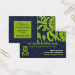 Navy Blue and Green Damask Professional Business Business Card