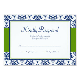 Navy Blue and Green Damask Response Card