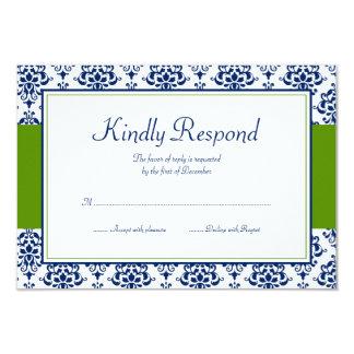 Navy Blue and Green Damask Response Card