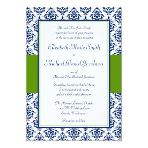 Navy Blue and Green Damask Wedding Invitations 5