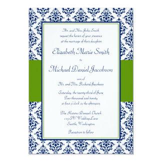 "Navy Blue and Green Damask Wedding Invitations 5"" X 7"" Invitation Card"