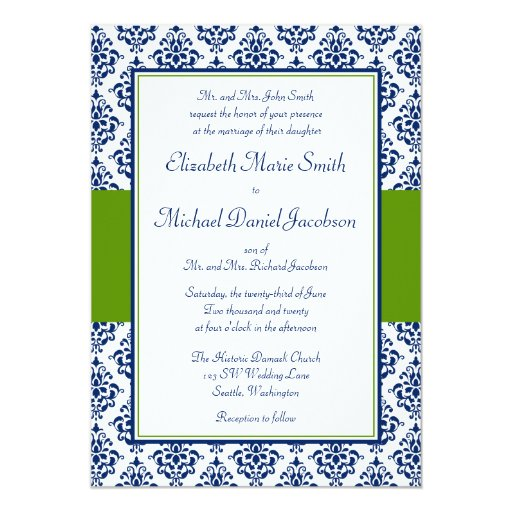 Navy Blue And Green Damask Wedding Invitations
