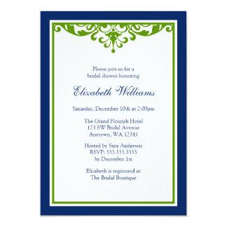 Navy Blue and Green Flourish Bridal Shower 5x7 Paper Invitation Card