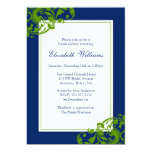 Navy Blue and Green Flourish Swirls Bridal Shower Custom Invite