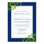 Navy Blue and Green Flourish Swirls Wedding 5x7 Paper Invitation Card