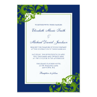 Navy Blue and Green Flourish Swirls Wedding Card