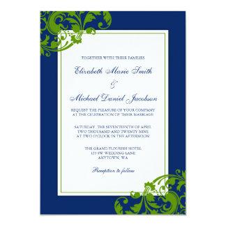 Navy Blue and Green Flourish Swirls Wedding Card