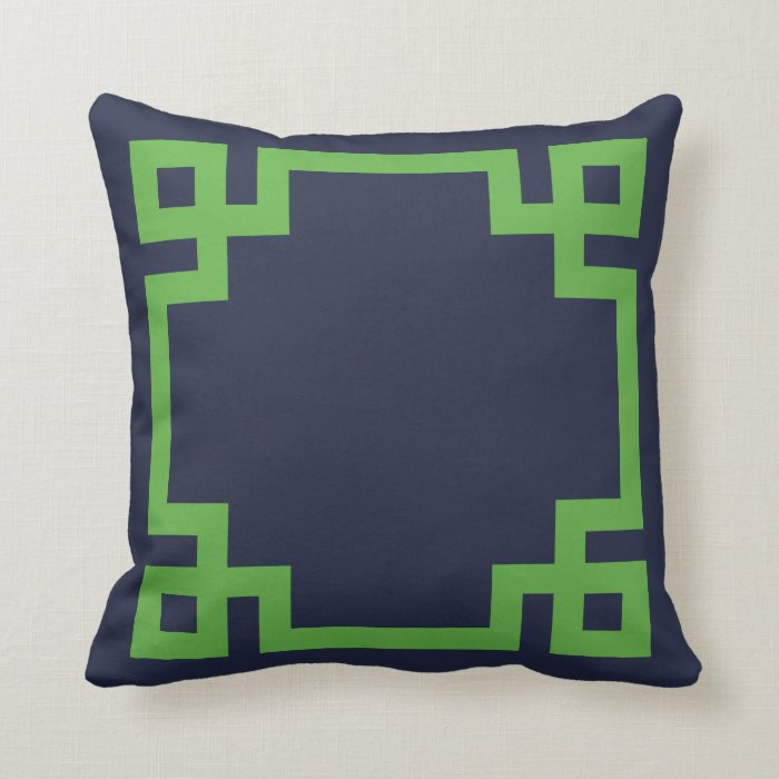 Navy Blue And Green Throw Pillows : Navy Blue and Green Greek Key Border Throw Pillow Zazzle