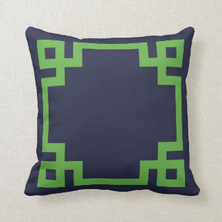 Navy Blue and Green Greek Key Border Throw Pillow