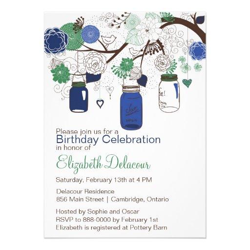 Navy Blue and Green Mason Jars Birthday Invitation