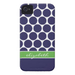 Navy Blue and Green Mod Big Dots Custom Monogram iPhone 4 Covers