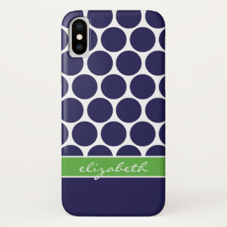Navy Blue and Green Mod Big Dots Custom Monogram iPhone X Case
