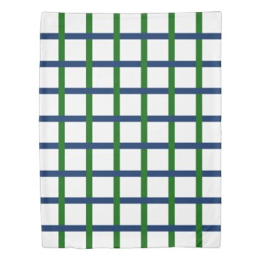 Beach Themed Navy Blue and Green Plaid on White Duvet Cover