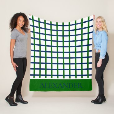 Beach Themed Navy Blue and Green Plaid on White Personalized Fleece Blanket