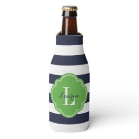 Navy Blue and Green Preppy Stripes Monogram Bottle Cooler