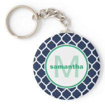 Navy Blue and Green Quatrefoil Monogram Keychain