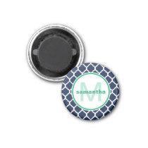Navy Blue and Green Quatrefoil Monogram Magnet