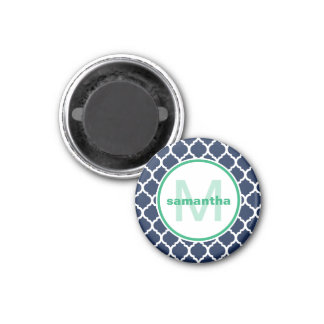 Navy Blue and Green Quatrefoil Monogram Magnet