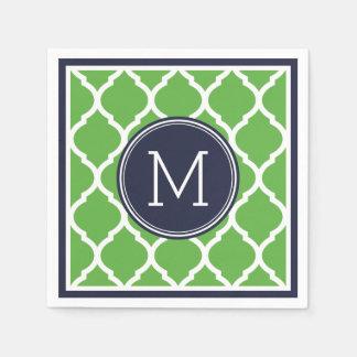Navy Blue and Green Quatrefoil Wedding Monogram Napkin