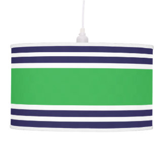 Navy Blue and Green Stripe Pattern Hanging Lamps