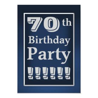 "Navy Blue and Grey 70th Birthday Party Invitation 5"" X 7"" Invitation Card"