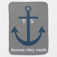 Navy Blue and Grey Anchor Monogram Nursery Blanket