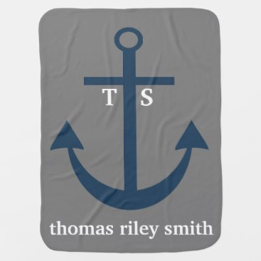 Toddler & Baby themed Navy Blue and Grey Anchor Monogram Nursery Blanket