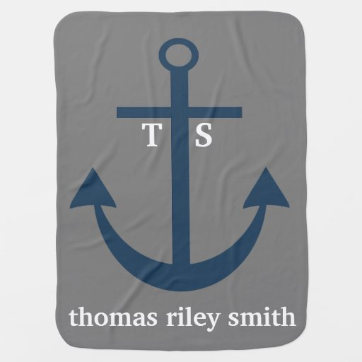 Navy Blue and Grey Anchor Monogram Nursery Blanket Stroller Blanket