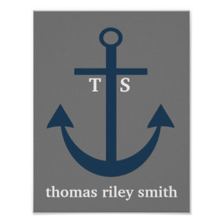 Navy Blue and Grey Anchor Monogram Nursery Print