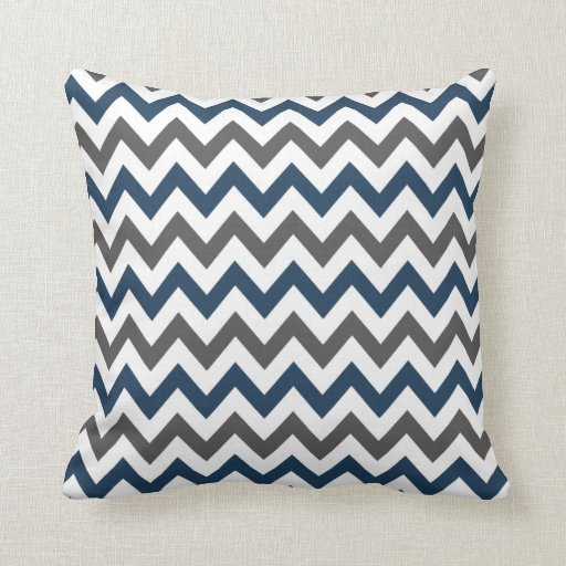 Throw Pillows With Navy Blue : Navy Blue and Grey Chevron Throw Pillow Zazzle