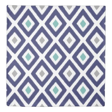 Aztec Themed Navy Blue and Grey Ikat Diamond Pattern Duvet Cover