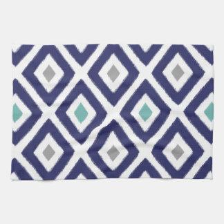 Navy Blue And Grey Ikat Diamond Pattern Kitchen Towel