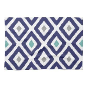 Aztec Themed Navy Blue and Grey Ikat Diamond Pattern Kitchen Towel