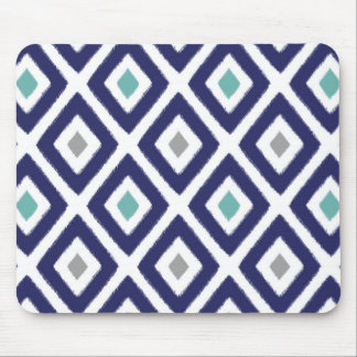 Navy Blue and Grey Ikat Diamond Pattern Mouse Pad
