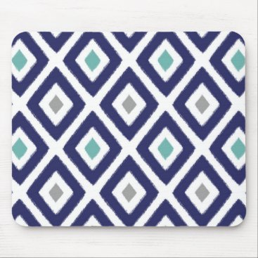 Aztec Themed Navy Blue and Grey Ikat Diamond Pattern Mouse Pad