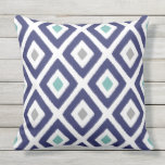 Navy Blue and Grey Ikat Diamond Pattern Outdoor Pillow