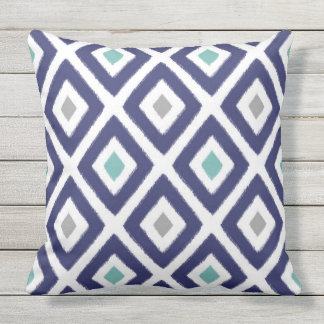 Navy Blue and Grey Ikat Diamond Pattern Outdoor Pillow
