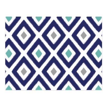Aztec Themed Navy Blue and Grey Ikat Diamond Pattern Postcard