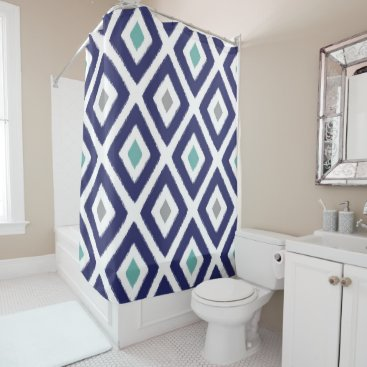Aztec Themed Navy Blue and Grey Ikat Diamond Pattern Shower Curtain