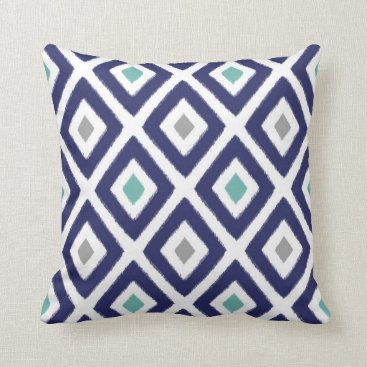 Aztec Themed Navy Blue and Grey Ikat Diamond Pattern Throw Pillow