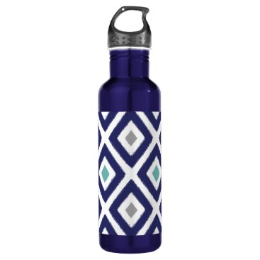 Aztec Themed Navy Blue and Grey Ikat Diamond Pattern Water Bottle